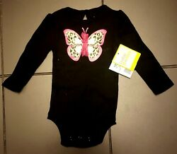 baby starters - Girls 9M one piece set of 2 Pink & Black Butterfly design $9.00