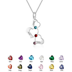Personalized Women Necklace Heart Pendant Chain Engraved Names Mothers Day Gift $10.99