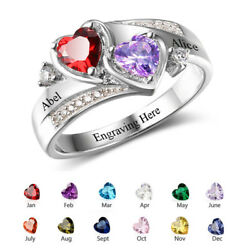 925 Silver Personalized Women Rings Promise Engagement Engrave Names Birthstones $18.99