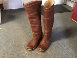 Frye Jane Tall 16andrdquo Leather Boots Redwood Brown Sz 61/2 B