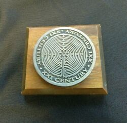 Xxi Century Medallion On Paperweight Plaque Pewter/wood