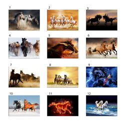 Frame Painting Canvas Horse Running Animal Modern Pictures Wall Art Poster A2