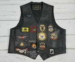 Leather Biker Vest With Patches Motorcycle Mens Size 56 Black WChains Apparel