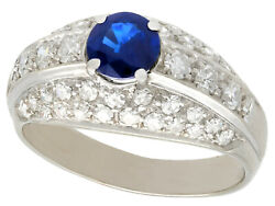 Vintage 0.70 Ct Sapphire And 0.78 Ct Diamond 18k White Gold Dress Ring Size 6.5
