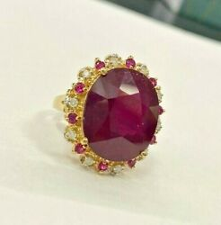 14k Yellow Gold Natural Ruby And Diamond Cocktail Ring
