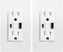 Type C Usb Outlet Fast Charger 4.2a Duplex Receptacle 15a Tamper Resistant Ul