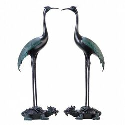 Pair 34and039and039 Bronze Saloon Parlour Drawing Room Decor Bird Crane On Dragon Turtle