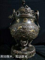21and039and039 Bronze Red Copper Gold Carved Beast Dragon Incense Burner Censer Statue
