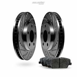 Front Black Drilled Slotted Brake Disc And Pads For 1996-1998 Suzuki Sidekick