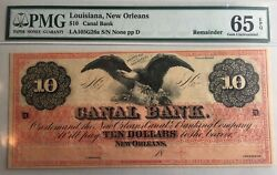 10 Canal Bank New Orleans Louisiana Pmg 65 Epq Remainder Obsolete Note P-064