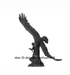 Chinese Pure Bronze Fengshui Animal Spread The Wings Eagle Hawk Bird Sculpture