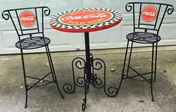 Authentic Vintage Coca-cola Wrought Iron Type Bar Or Patio Table And Stools