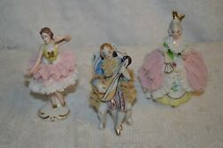 Lot Of Three Antique / Vintage Dresden Lace Figurines