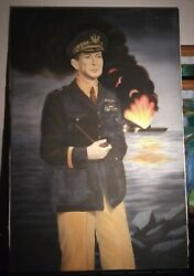 Large Vintage Oil On Canvas Painting Of A Wwii Douglas Macarthur