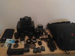 Fujifilm x-t2 with 5 lenses remote flash peak design bag and many extras.