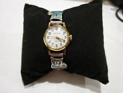Caravelle N7 Ladies Watch With Navajo Owl Turquoise And Coral Watch Tips