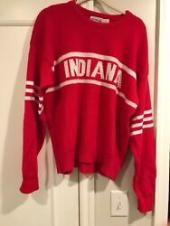 Vintage 1985 Indiana Hoosiers Basketball Football Wool Sweater Red Adult Xl 80's