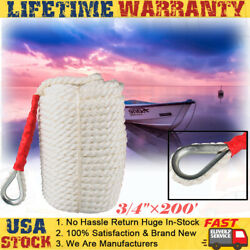 3/4and039and039andtimes200and039 Twisted Three Strand Nylon Dock Line Rope Cord Boat Anchor/mooring Us