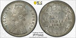 India 1893 -c Silver One Rupeesw-6.133 Ms63