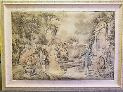 Lovely Antique Early 1900s French Victorian Framed Woven Tapestry