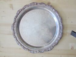 Vintage Leonard Silver Plated Round Scalloped Edge Etched Tray - Serving Dining