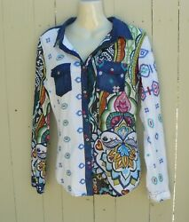 Desigual Cotton and Denim Embroidered Button Down Boho Shirt Blouse Size M