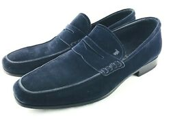645 Tods Mens Suede Penny Loafers Navy Blue Slip On 8.5 Casual Dress Shoe 9.5