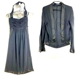 Vintage Dress W/ Cover Up Jacket Womens 38 Small 6 Black Cocktail Set