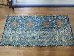 Superb Antique Chinese Gold Thread Dragon Embroidery , Measures 72 X 34 Inches