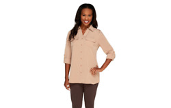 Denim And Co. Roll Tab Sleeve Button Front Soft Utility Tunic Mocha Xs A227885 J