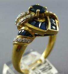 Wide 2.66ct Diamond And Aaa Sapphire 18kt Yellow Gold Oval Two Row Swirl Love Ring