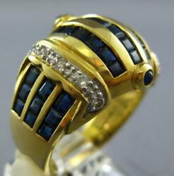Large 3.62ct Diamond And Aaa Sapphire 18k Yellow Gold 3d Round And Square Crown Ring