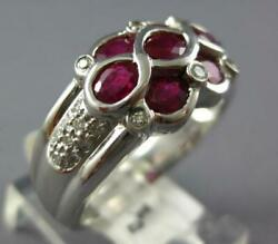 1.88ct Diamond And Aaa Ruby 14kt White Gold Oval And Round Infinity Flower Love Ring