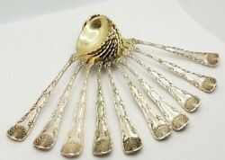Rare 1884 Sterling Silver Gold Wash Ice Cream Sorbet Spoons Antique Tea