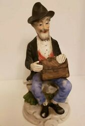 Vintage Figurine Porcelain Bisque Old Man On Bench with Breifcase Japan