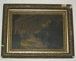 Charles Henry Miller Oil Painting On Board Antique Ox Carts Gilt Frame Chas Art