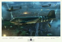 82nd Airborne Paratrooper Autographed Matt Hall Art Print Of The D-day C-47 Drop