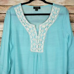 Cal Style Embroidered Crochet Boho Peasant Blouse Top Blue Womens Size Small