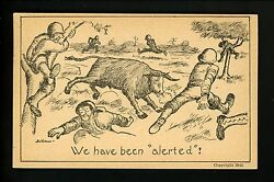 Military Comic Postcard Vintage WWII Army soldier Bull Artist Vernon 1942