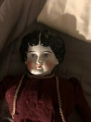 Antique 1800's German Doll China Porcelain Head Shoulder Cap And Limbs Fabric Body