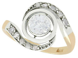Antique 1900s 0.60ct Diamond And 18k Yellow Gold Twist Ring