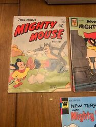 Vintage Mighty Mouse Comic Book Lot Golden,silver,and Bronze Comics In This Lot