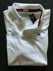 Nwt Abercrombie And Fitch Men's Polo T-shirt Muscle White Size L, Xl, Xxl