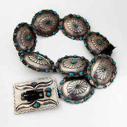 Carrie Baker Turquoise Concho Belt Rectangle Buckle Sterling Silver Leather