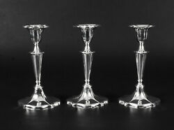 Antique Set Of 3 Sterling Silver Candlesticks William Gibson And John Langman 1895