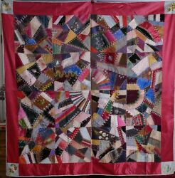 Antique American Ohio 1880 Crazy Quilt, Silk Hand Embroidered Flowers Textile