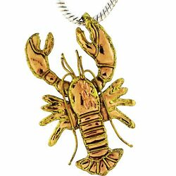 Estate Jewelry Nautical Brass And Copper Lobster Crayfish Pendant Brooch Pin 80mm