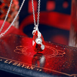 Love and Producer Victor Time Necklace Rose Red Pendant  Silver Christmas Gift