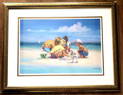 """Lucelle Raad Island Boys"""" 30/950 Limited Edition Lithograph On Paper Large Art"""