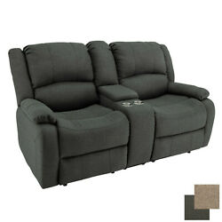 Charles 67 Cloth Double Rv Wall Hugger Recliner Sofa Couch With Console Fossil
